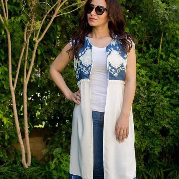 Boho Waistcoat and Jeans Outfit Idea