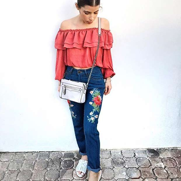 Embroidered Jeans with Ruffle Top