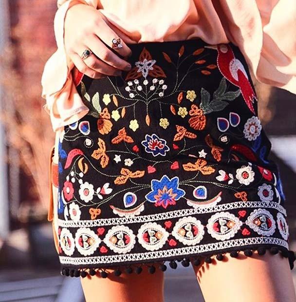 Embroidery Mini Skirt