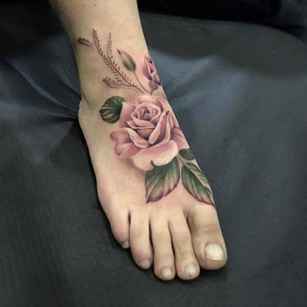 100 Gorgeous Foot Tattoo Design You Must See: 10 Beautiful Rose Tattoo Ideas For Women