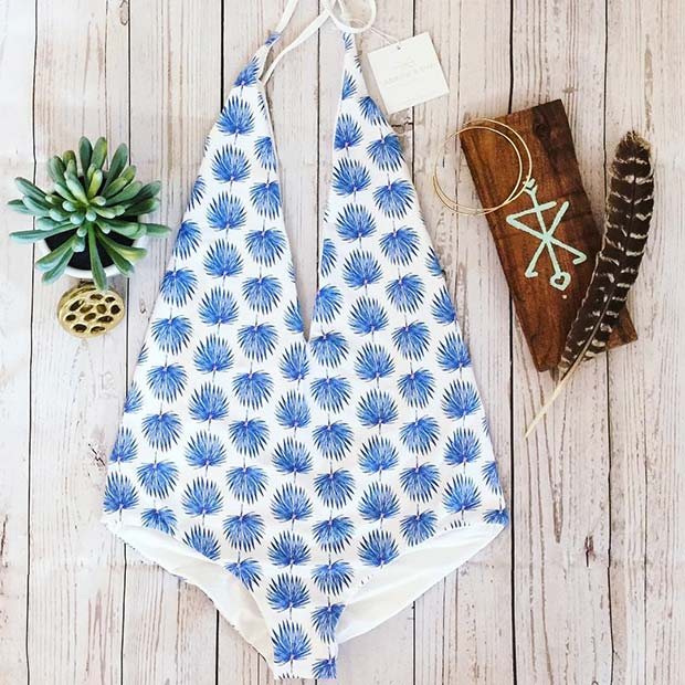 Printed Halter Neck One Piece Bathing Suit for Summer 2017