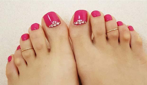 Dark Pink Pedicure