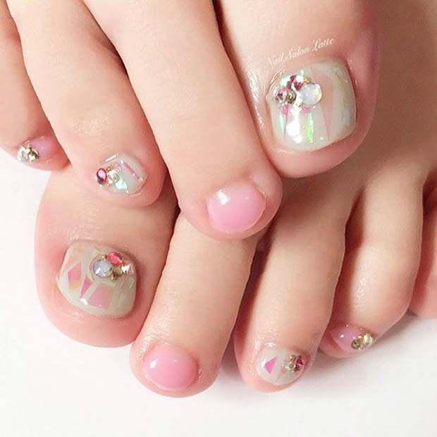 Multi Color Pink Pretty Pedicure with Gems