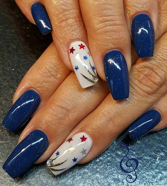 Dark Blue Long Nails With Star Accent Nail for 4th July Nail Design Idea