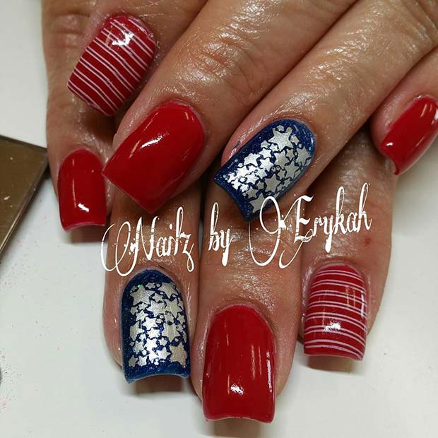 Stunning Stars and Stripes 4th of July Nail Design Idea