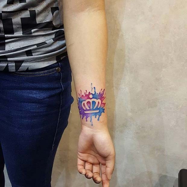 Bright Water Color Ink Crown Tattoo Design for Women