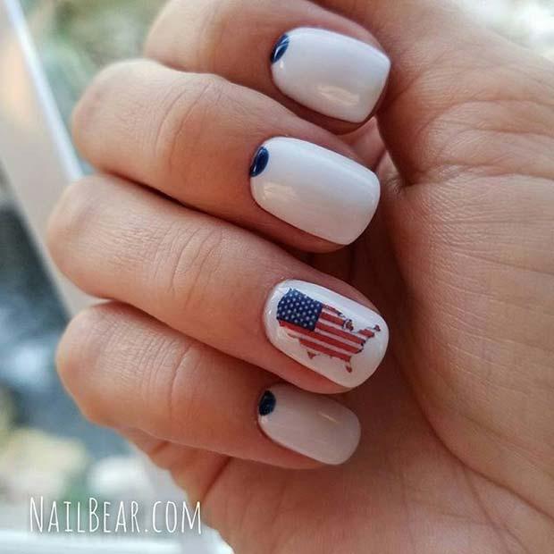 Patriotic American Flag Map 4th of July Nail Design Idea