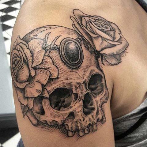 d934da6a7 Skull Shoulder Tattoo for Badass Tattoo Idea for Women