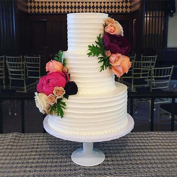 Classic White Multi Tier Cake with Bright Florals for Summer Wedding Cakes