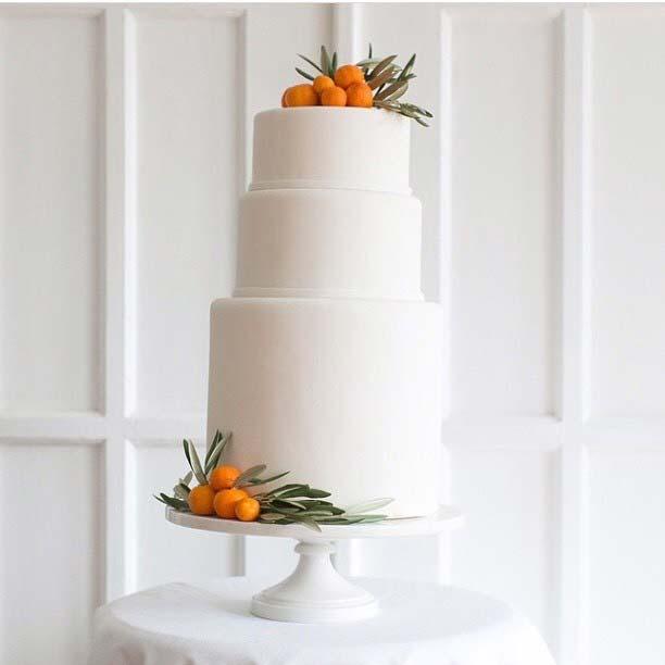 Minimal White Three Tier Cake for Summer Wedding Cakes
