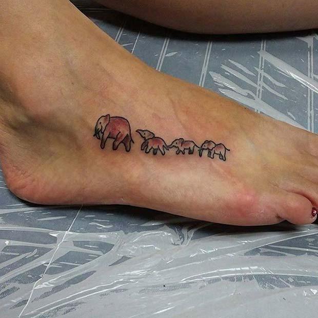Elephants in a Line Tattoo