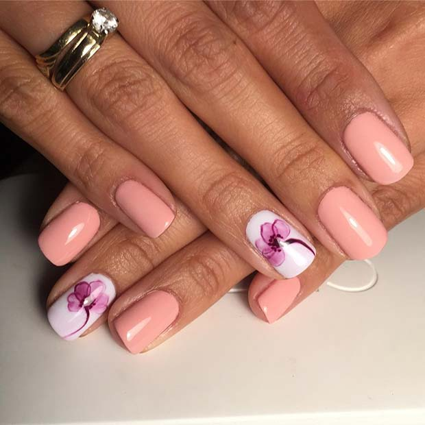 Floral Accent Nail for Elegant Nail Designs for Short Nails