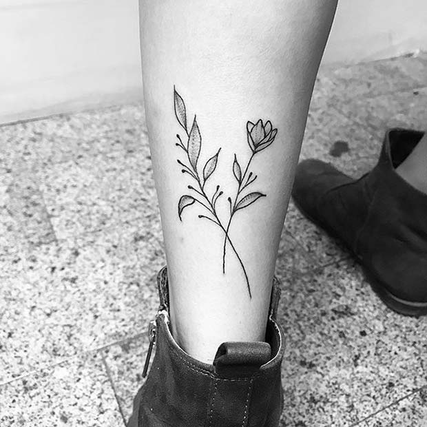 Simple Floral Design for Flower Tattoo Ideas for Women