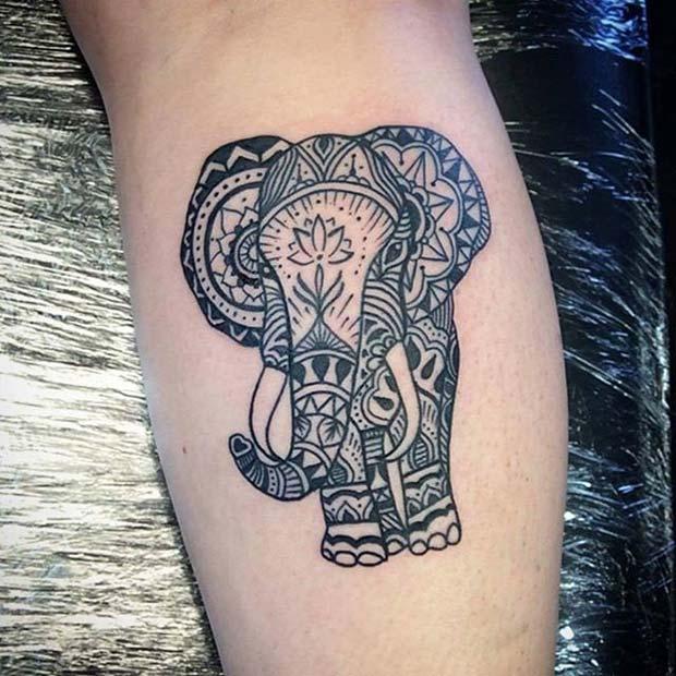 Mandala Style Elephant Tattoo