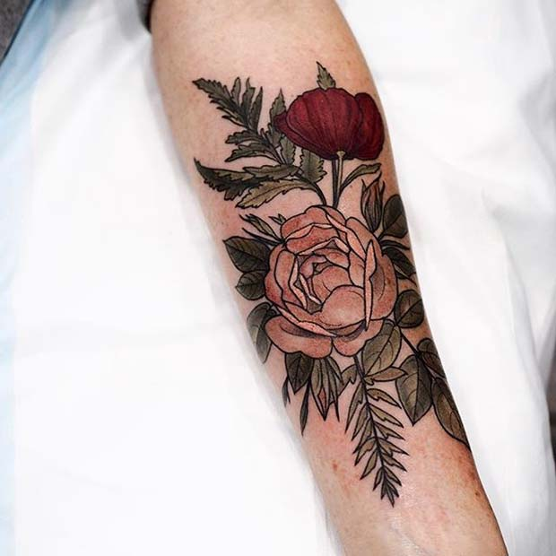 Vibrant Flower Tattoo for Flower Tattoo Ideas for Women