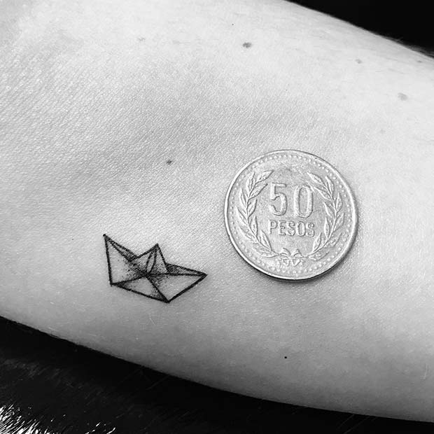 Tiny Paper Boat Tattoo