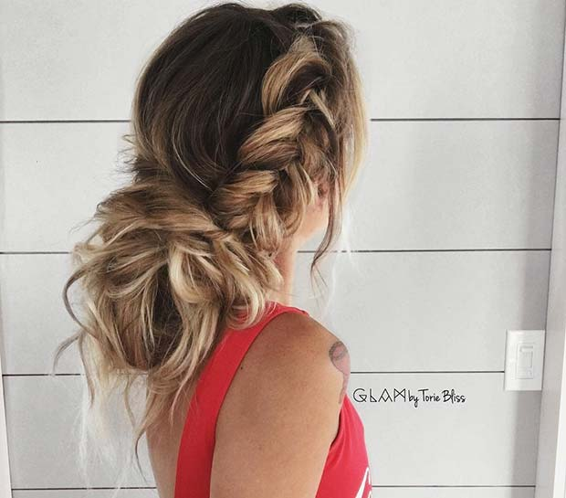 Side Fishtail Braid with Messy Bun