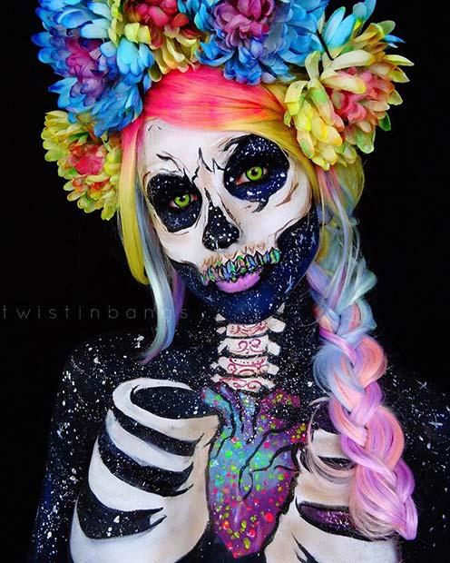 Vibrant Skeleton Halloween Makeup