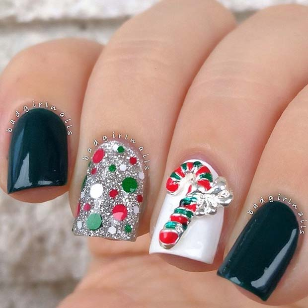 Christmas Nails With Glitter: 29 Festive Christmas Nail Art Ideas