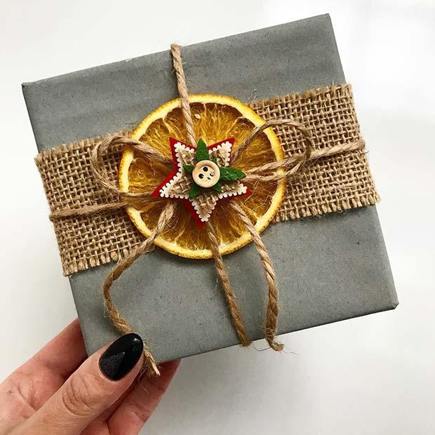 Festive Orange Gift Wrap Idea