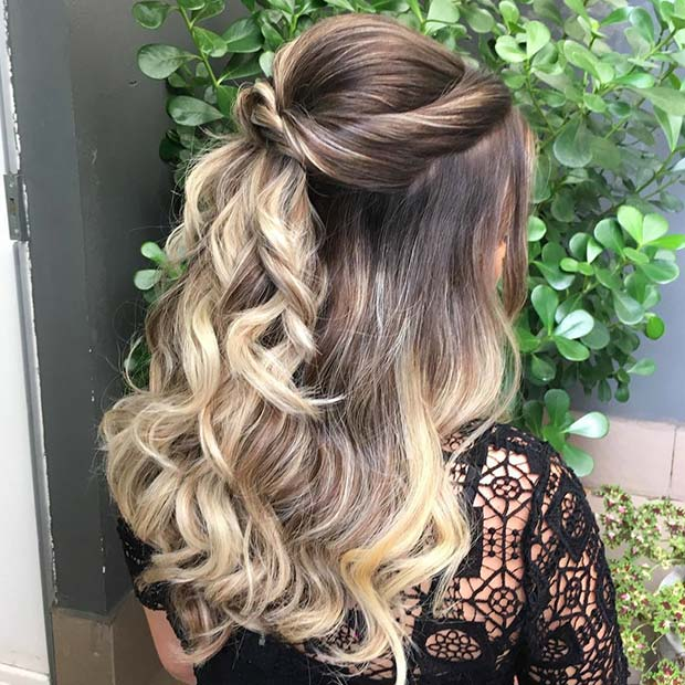 Pretty Half Up Half Down Prom Hairstyle