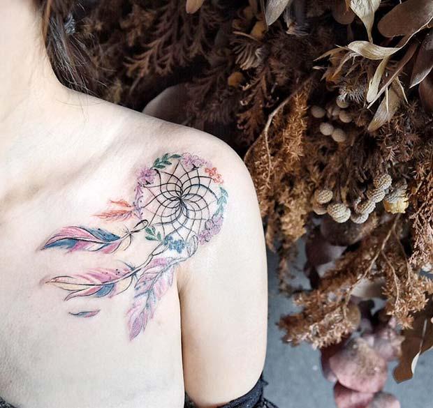 Colorful Dream Catcher Tattoo