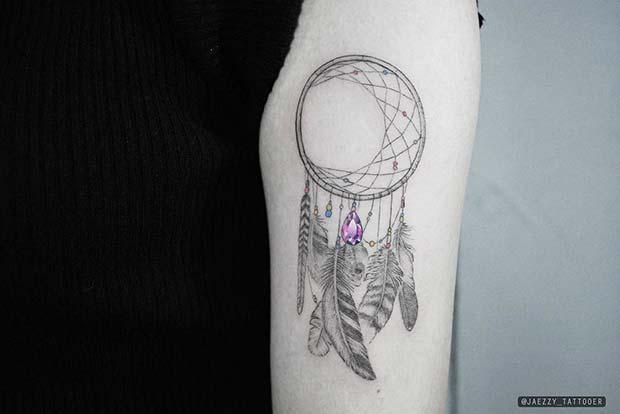 Delicate Dream Catcher Tattoo with Jewel