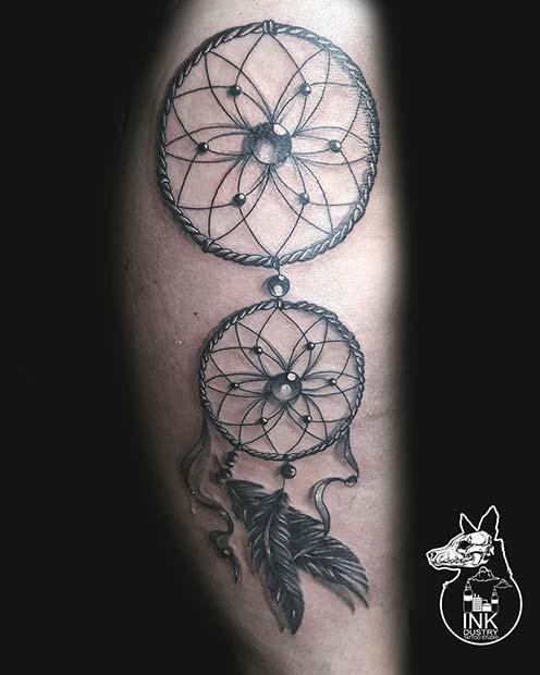 Double Dream Catcher Tattoo Design