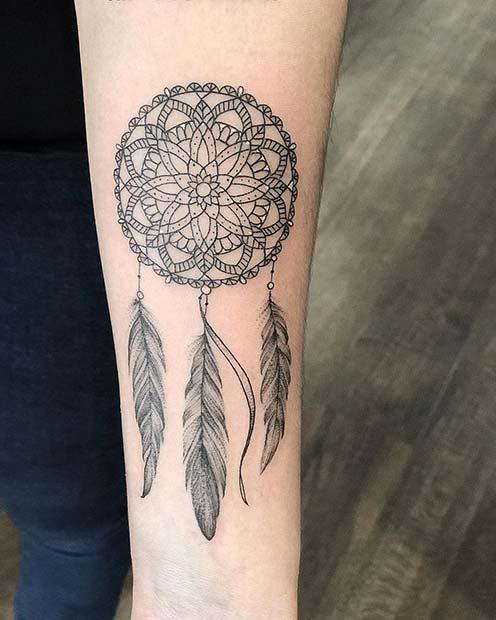 Mandala Dream Catcher Tattoo Design