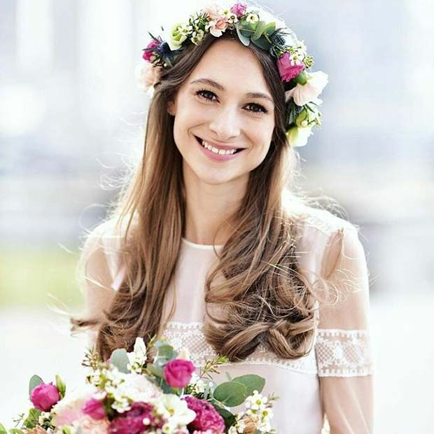 Floral Bridal Crown And Matching Bouquet