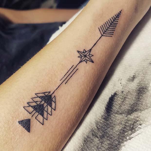 Geometric Arrow Tattoo Design