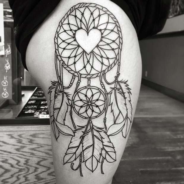 Dream Catcher Tattoo on Thigh