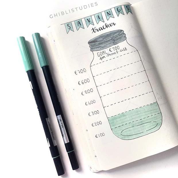 Creative Savings Jar Idea for Bullet Journal