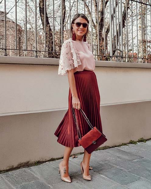 Pleated Midi Skirt Outfit Idea for Work