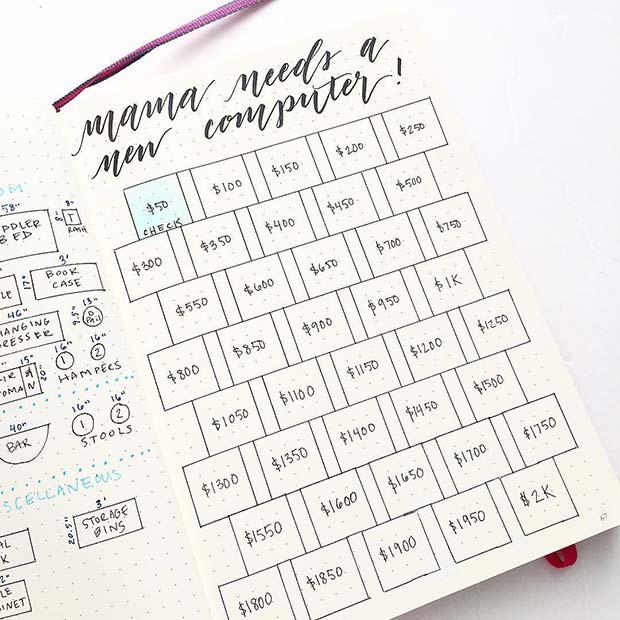 Savings Page Bullet Journal Idea