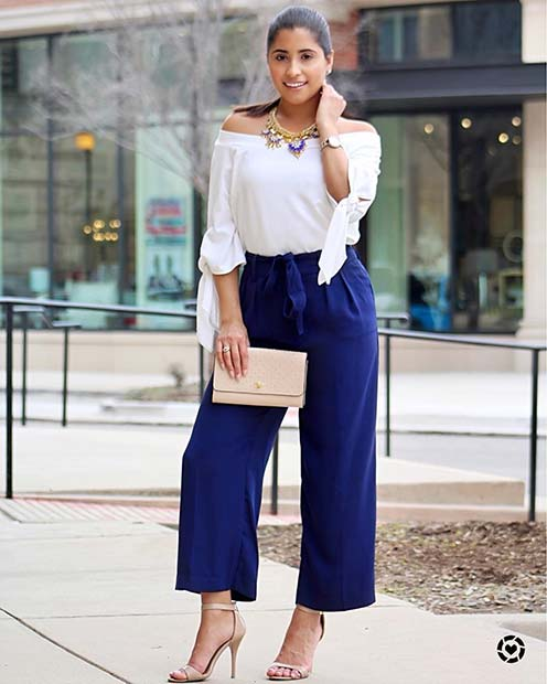 Smart Blue Trousers and White Top