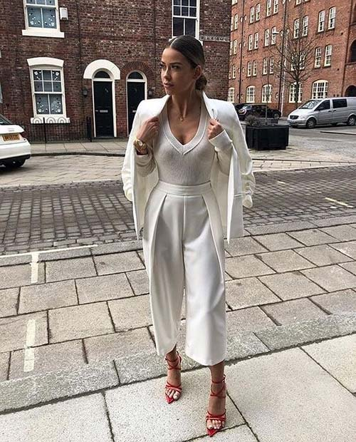 All White Party Outfit Idea with Red Heels
