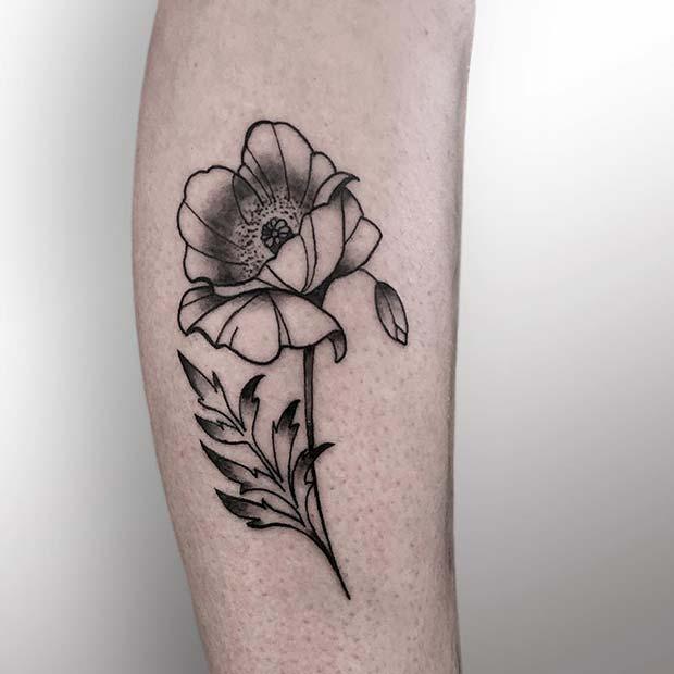 21 Trendy Poppy Tattoo Ideas for Women | Artistic Black Ink Poppy Tattoo