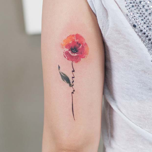 21 Trendy Poppy Tattoo Ideas for Women | Watercolor Poppy Tattoo Idea