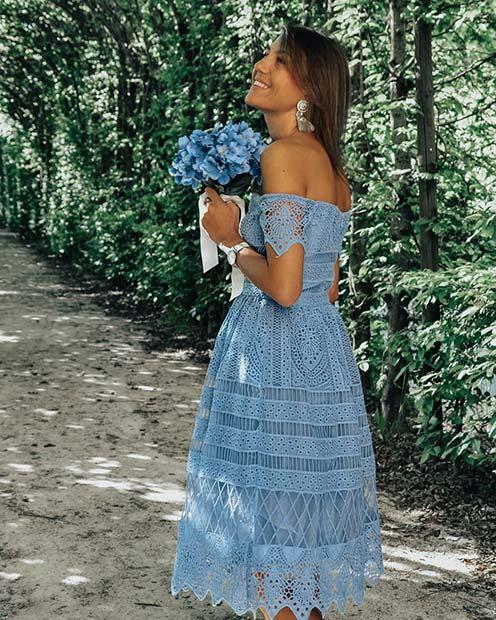 Beautiful Blue Off-the-Shoulder Lace Dress