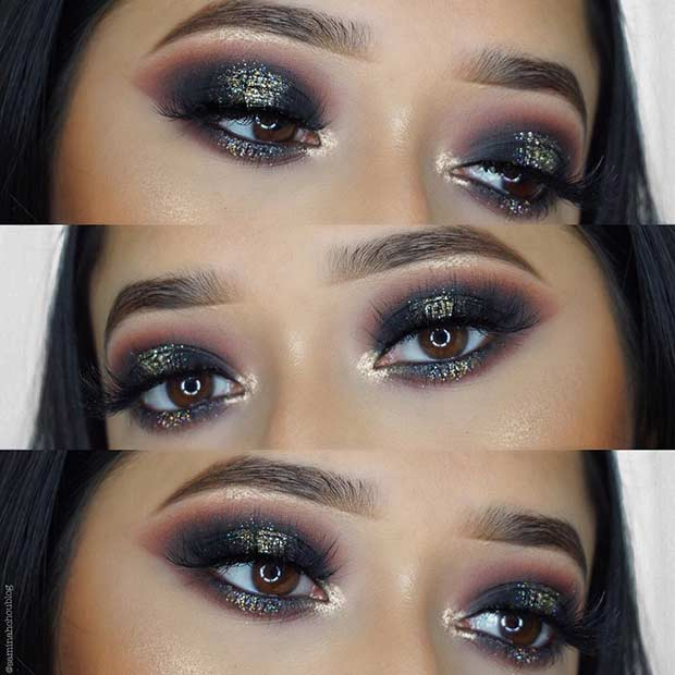 Black Smokey Eye with a Pop of Gold