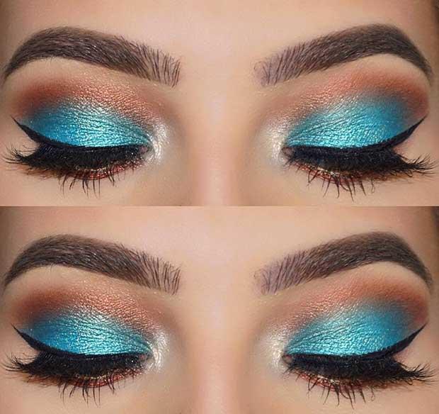 Blue and Brown Summer Eye Makeup