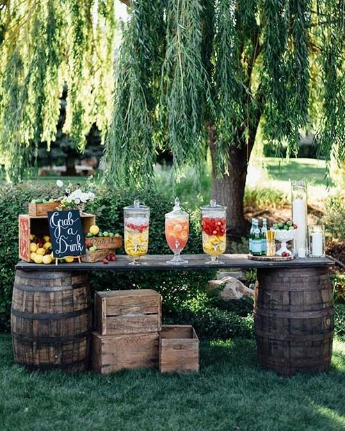 Cocktail Bar Idea for an Outdoor Wedding