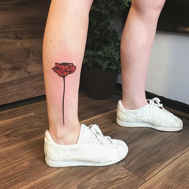 21 Trendy Poppy Tattoo Ideas for Women | Creative Poppy Leg Tattoo Idea