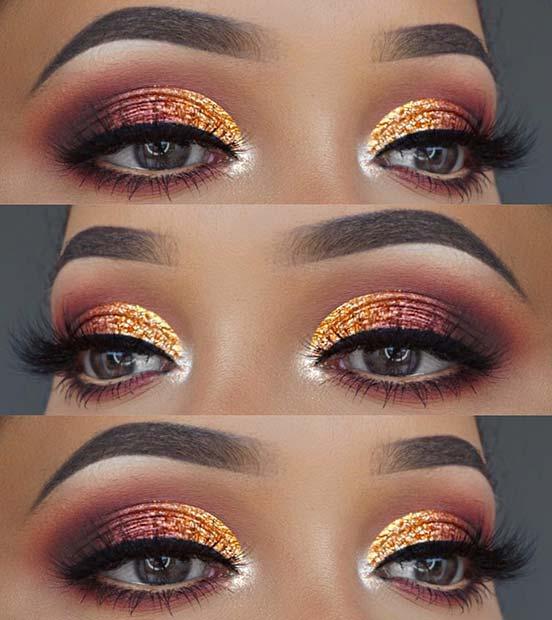 Orange Glitter and Burgundy Eyes