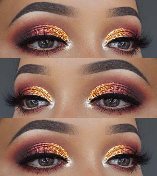 Orange Glitter and Burgundy Eyes
