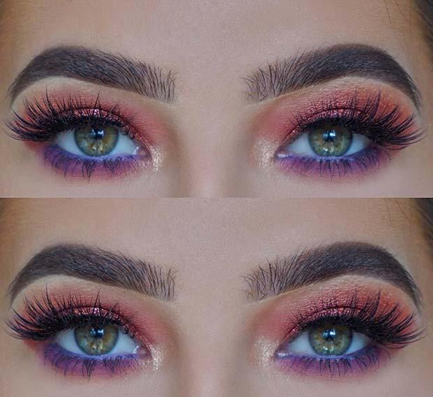 Orange and Purple Eye Makeup for Summer