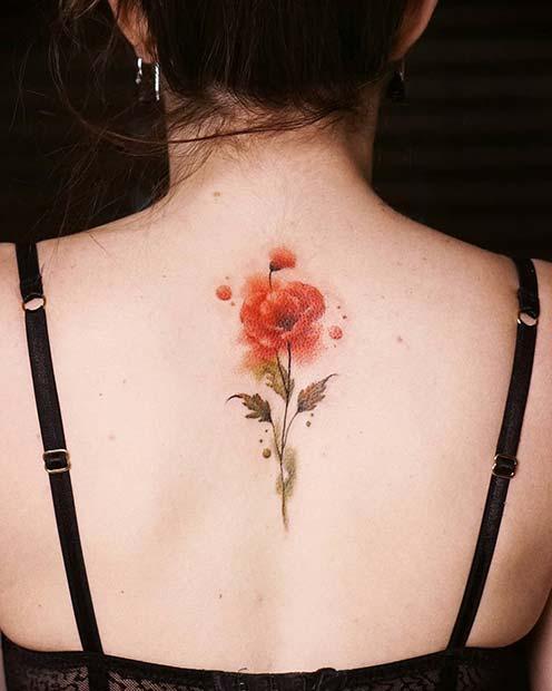 21 Trendy Poppy Tattoo Ideas for Women | Pretty Poppy Back Tattoo Idea
