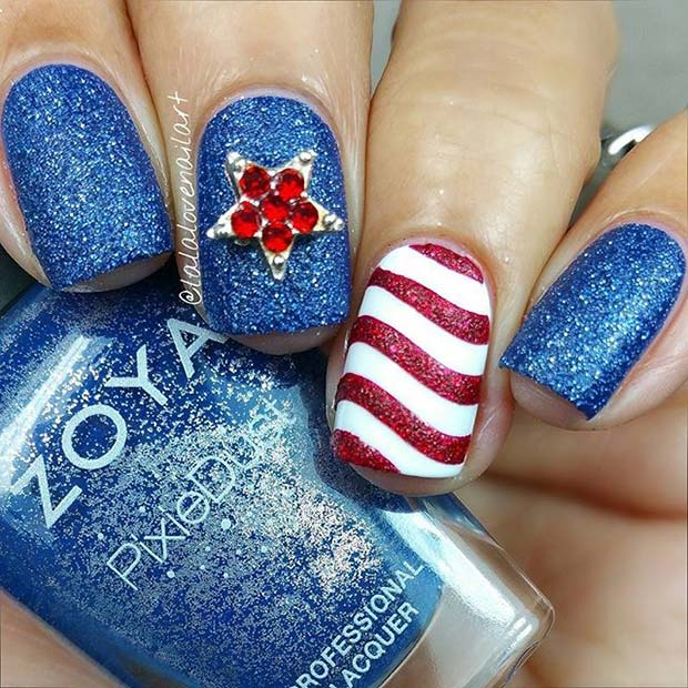 Red and Blue Glitter Nails for 4th of July