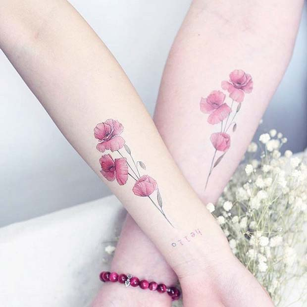 23 Cool Sibling Tattoos You'll Want to Get Right Now | Matching Flower Tattoos for Sisters